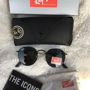💯Ray Ban Sunglasses RB3447 BLACK on BLACK ROUND